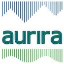 das aurira Logo zeigt im oberen bereich Berge und unten Wellen
