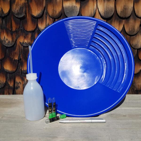 Goldwaschpfanne blau aurira GmbH im Verhältnis