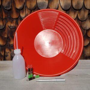 Goldwaschpfanne Rot im Verhältnis