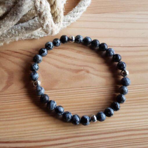 Armband Schneeflocken Obsidian_